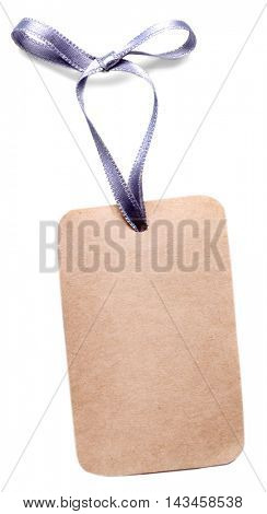 Card with a violet ribbon isolated on white