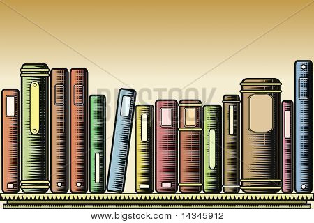 Editable vector illustration of books on a shelf in woodcut style
