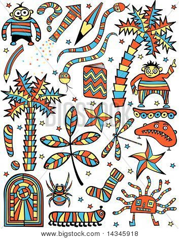Set of colorful editable vector cartoon design elements