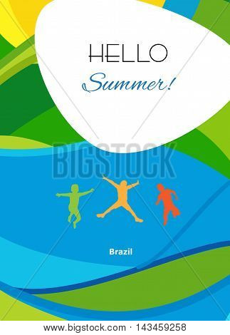 Hello Summer Olympics abstract colorful background. For kids Holiday in Brazil. Kids jumping, Kids camp, summer sport, Rio de Janeiro vacation, children event. Olympic kids. Vector illustration. Holiday Sport Event template. Brochure cover.