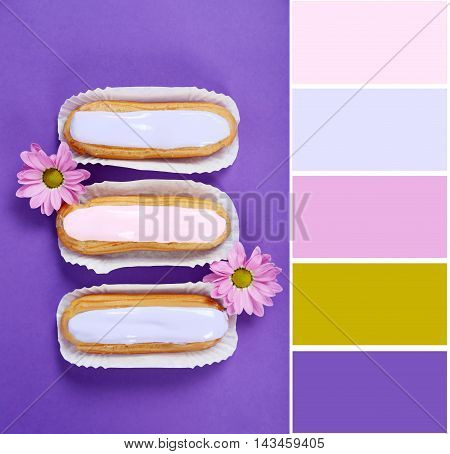 Eclairs With Glaze On A Paper Background With Color Palette