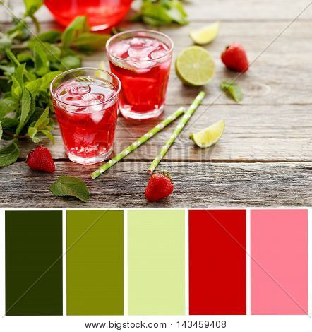 Fresh Strawberry Drink In Glass With Lime On Wooden Table With Color Palette