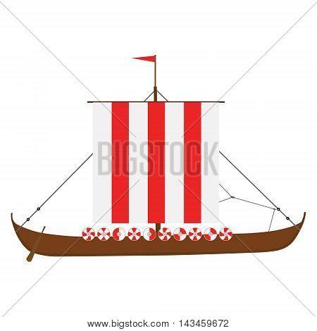Vector illustration viking medieval drakkar ship isolated on white background. Warship