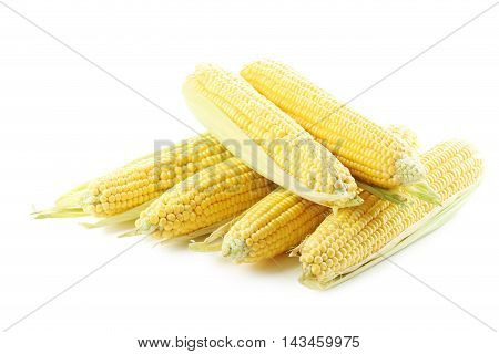 Sweet Corns Isolated On A White
