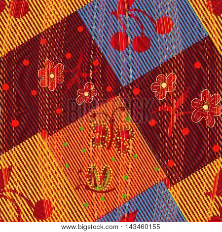 Colorful grunge striped weave quilt seamless pattern with floral applique