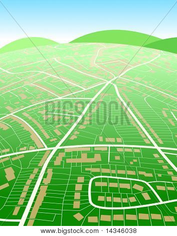 Editable vector illustration of a generic street map and green hills
