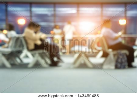 Tourists or group of people waiting for departure time.Blur images and background.