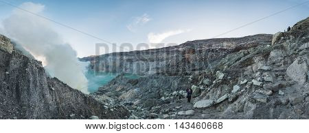 Panoramic, landscape of Kawah Ijen in indonesia