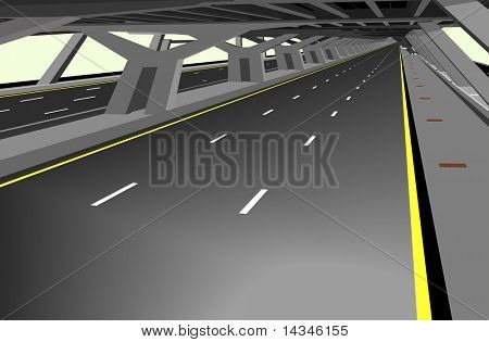 Illustration of a carless highway and concrete structure