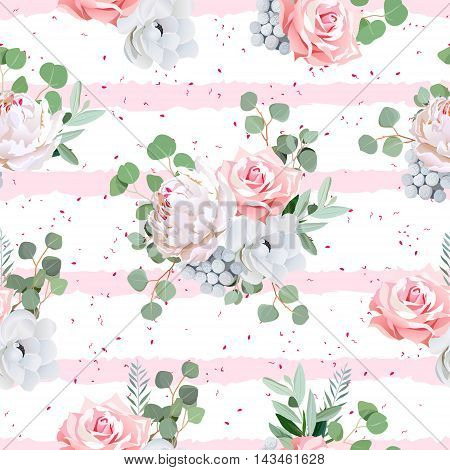 Cute bouquets of rose peony anemone brunia flowers and eucaliptis leaves. Seamless vector print with speckled and pink striped backdrop.