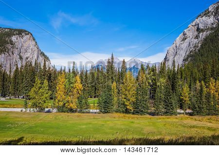 Mountain valley in Banff National Park. The sunny day in the Canadian Rockies