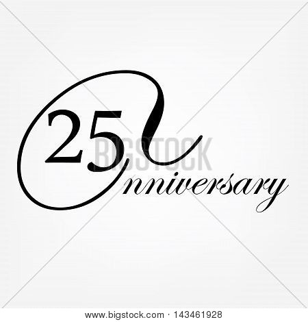 25 th anniversary logo. Vector illustration decorative emblem of 25 years anniversary celebration design.
