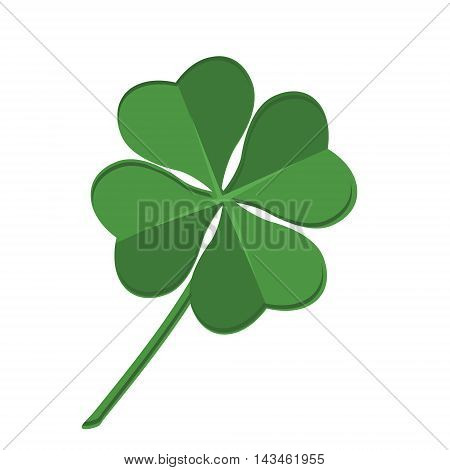 Vector illustration green clover leaf. Leaf clover sign icon. Saint patrick symbol. Ecology concept. Flat design style.