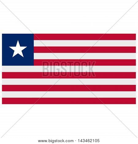Vector illustration rectangle flag of Liberia country. Liberian flag. Button or badge