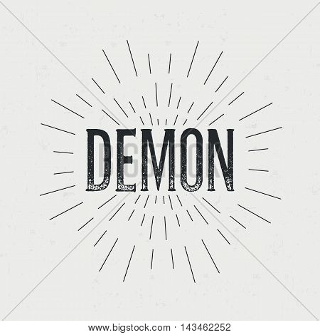 Abstract creative vector design layout with text - demon. Vintage concept background, art template, retro elements, logo, labels, layout, badge, old banner, card. Hand made typography word