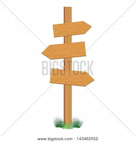 Vector illustration of wooden sign post. Empty direction post