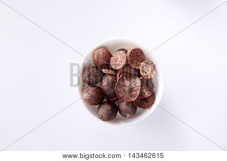 spice,nut meg on the white background