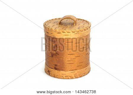 Birch-bark Box On White Background