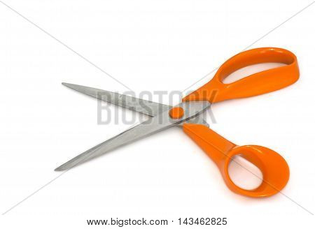 Scissors With Orange Handles On White Background