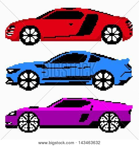 colored race cars collection vector pixel art