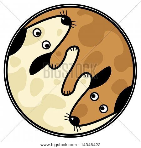Vector yin and yang design of two dogs sniffing each other