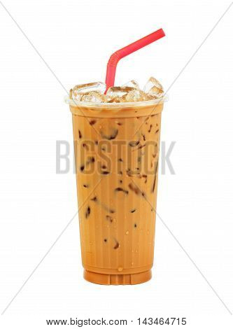 Iced coffee with straw in plastic cup isolated on white background / coffee sweet