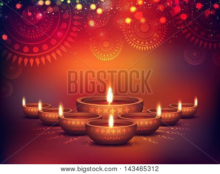 Elegant Illuminated Oil Lit Lamps, Beautiful Traditional Festive floral Background, Glowing Ornaments, Vector Illustration for Indian Festival of Lights, Happy Diwali Celebration.