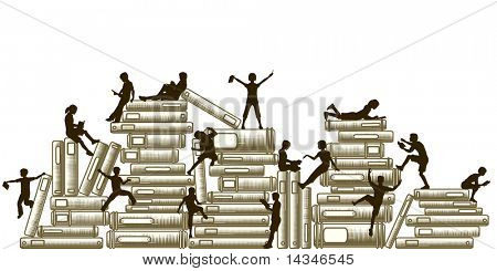 Illustration of children reading and clambering over piles of books