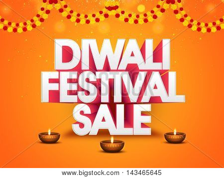 Diwali Festival Sale Flyer, Bamper Dhamaka Poster, Clearance Sale Banner, Vector Best Offer Background with 3D Typography and Illuminated Oil Lit Lamps.