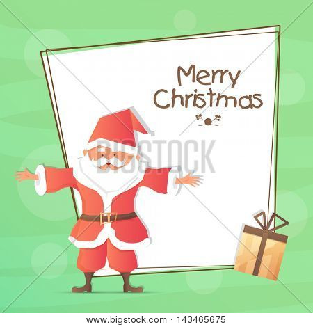Elegant greeting card design with space for your wishes, Illustration of Cute Santa Claus extending his arms and wrapped gift box for Merry Christmas celebration.