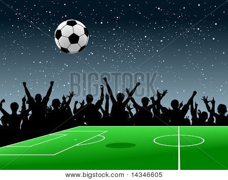 Editable vector design of a crowd around a football pitch at night