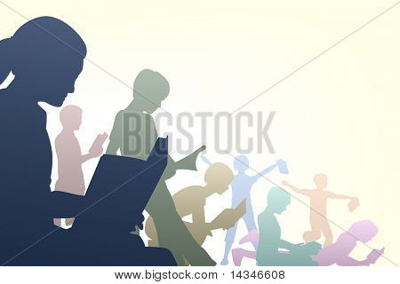 Editable vector illustration of children reading books