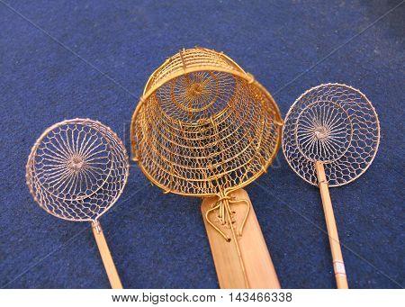 a strainer, a colander, a lawn sieve, Handmade