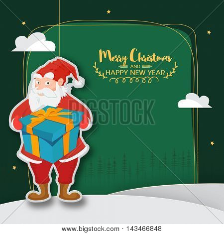 Santa Claus puppet holding big gift box on green background, Stylish sticker, tag or label design, Creative frame with space for wishes for Merry Christmas and Happy New Year celebration.