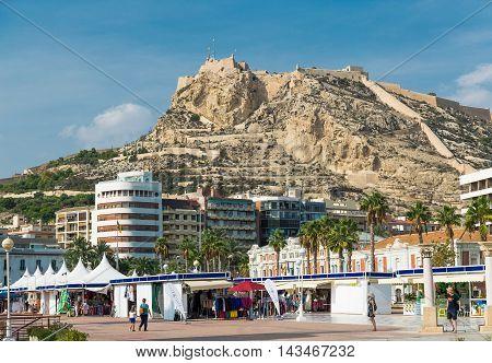 Alicante, Spain - SEPTEMBER 2015: View to Santa Barbara Mountain Castle