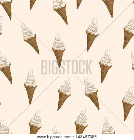 Ice cream waffle cones seamless pattern. Stylized vector illustration. Colorful melting ice-cream. Sweet dessert on creamy beige background. Vector illustration.