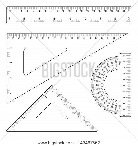 Simple flat outline rulers and triangles set. Vector objects