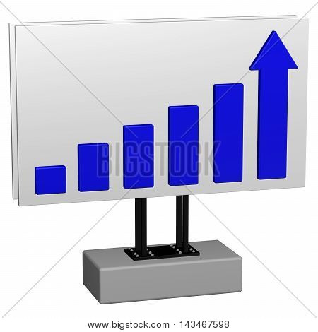 Concept: Growth. Billboard with chart and arrow isolated on white background. 3D rendering.