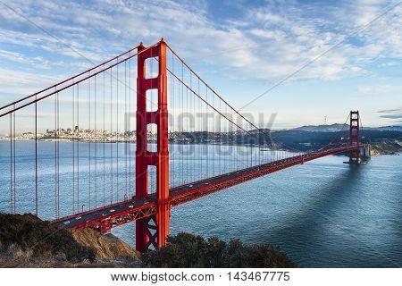 famous Golden Gate Bridge San Francisco at night USA