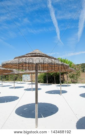 Empty Beach Resort Under Summer Blue Sky