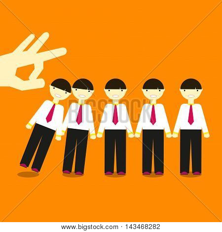 The click of a finger knocks the same men in office clothes in Domino effect