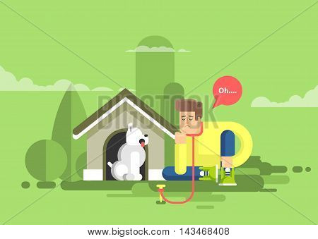 Stock vector illustration of sad man sits beside a dog at the doghouse on a leash in flat style