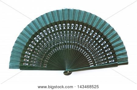 Green spanish hand fan, isolated on white background.