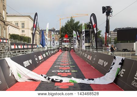 Copenhagen, Denmark - August 21, 2016: Triathletes cycling in the city center at the KMD Ironman Copenhagen event