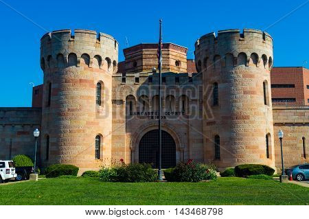 Lancaster PA - August 20 2016: The Lancaster County Prison is distinctive in style with castle-like towers.