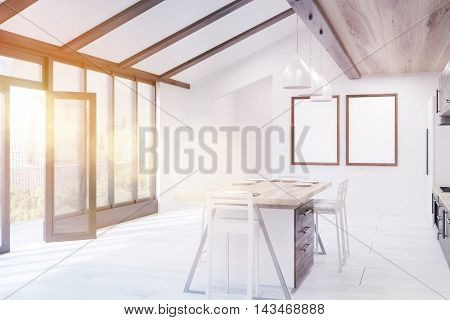 Stylish kitchen with balcony stools dining table and posters. New York city View. Concept of home decor. 3d rendering. Mock up. Toned image.