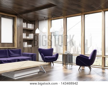 Living room corner with panoramic windows poster sofa armchairs and bookcase. Concept of comfortable house. 3d rendering. Mock up.