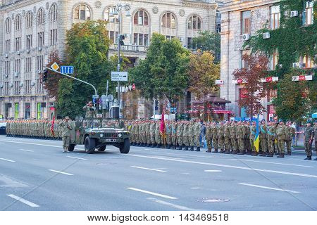Kiev Ukraine - 19 August 2016: The military parade prepetition: the general greets soldiers at Kreschatyk street.