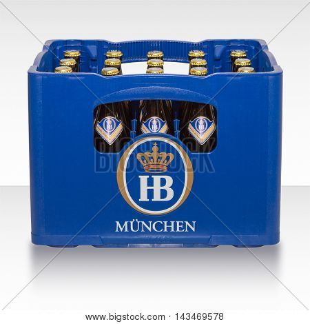 Munich Germany - June 10 2016: Plastic crate box case of traditional classic German beer from Bavarian brewery HB Munich.