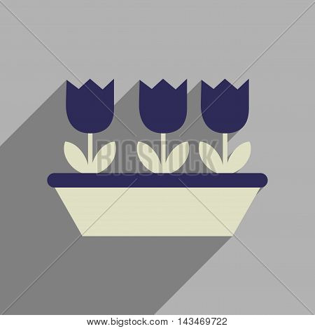 Flat web icon with long  shadow tulips